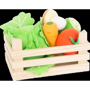 Set de légumes en tissu avec caisse